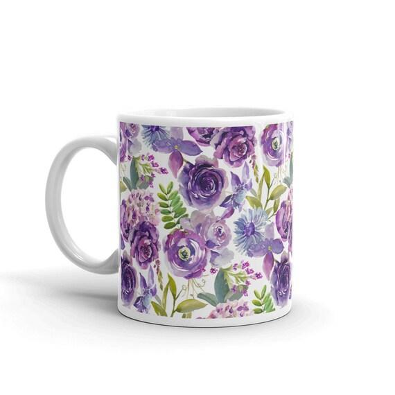 Pretty Purple floral Coffee Tea Mug