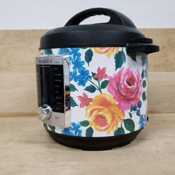 Bright Floral, Instant Pot Wrap magnetic closure or decal cover, removable Instant pot skin all Wrapped up IP