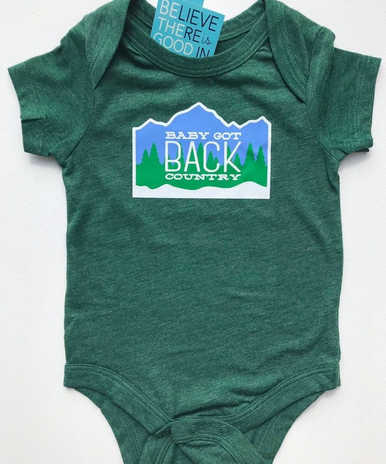 Baby Got Back Country gift for skiers Forest green bodysuit image 0
