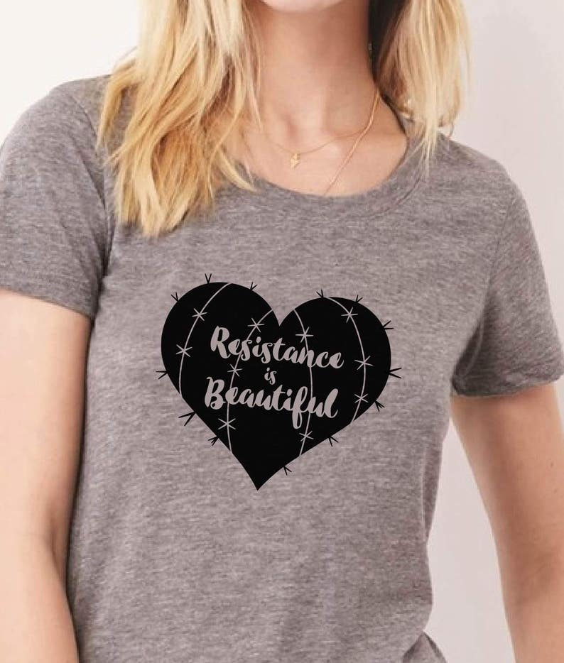 Resistance is Beautiful womens resist tshirt She Persisted image 0