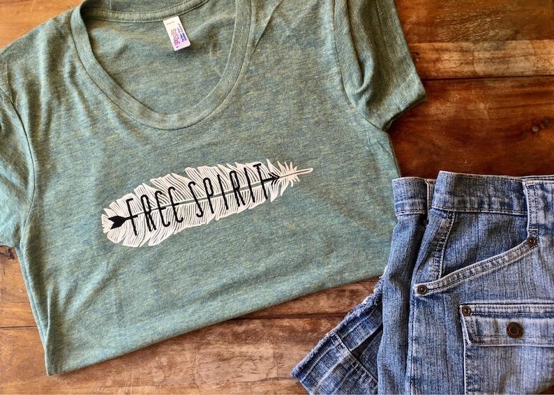 Free Spirit tshirt feather and arrow tshirt bohemian graphic image 0