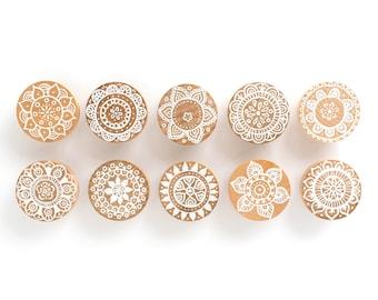 Hand Painted Boho Mandala Doily Themed Dresser Drawer Cabinet Knob Pulls