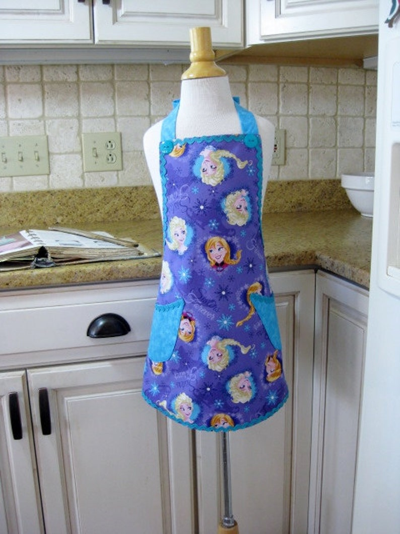 Purple Sisters for Ever Apron for Girls with Pockets.