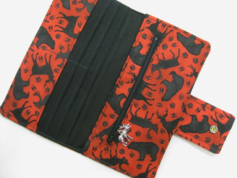 Womens Wallet Red and Black Handmade Fabric Clutch Nature Wallet