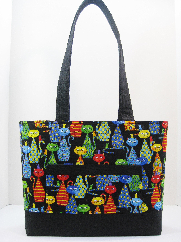 2d76e9d7ffe Cat Tote Bag, Zippered Tote Bag, Knitting Bag, Everyday Tote Bag, Cat  Knitting Bag,Gift Under 50, Weekend Bag, Knitting Tote, Cat Handbag