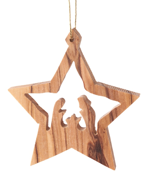 E31Olive wood ornament hand carved Christmas tree ornamentBethlehemHoly Land