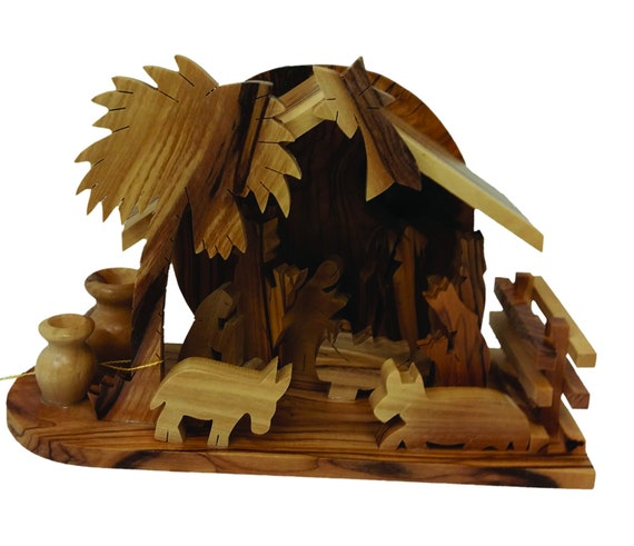 E20olive Wood Nativity Set Carved Nativity With Stable Holy Landwooden Nativitychristmas Decorhand Carved Nativity