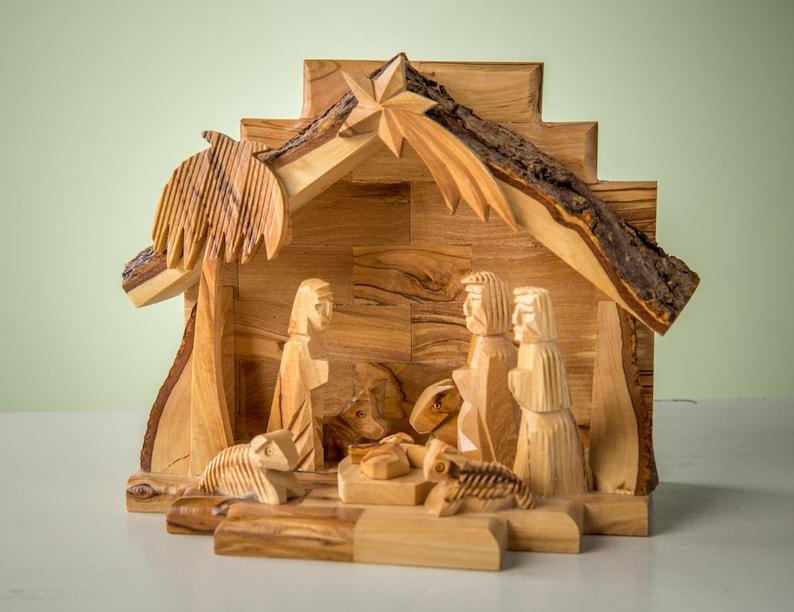 E22olive Wood Nativity Set Carved Nativity With Stable Holy Landwooden Nativitychristmas Decorhand Carved Nativity