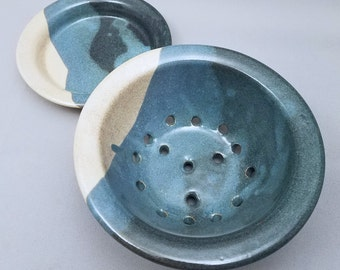fruit bowl plate  ceramic colander blue green crackle handmade one of a kind pottery gift celadon plate bowl fruit veggie colander strainer