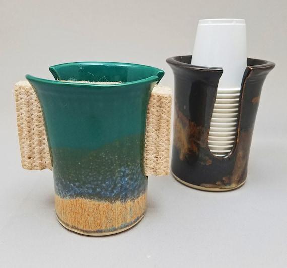 Dixie Bathroom Cup Dispenser Kitchen Sponge Holder by Stegall\'s Pottery