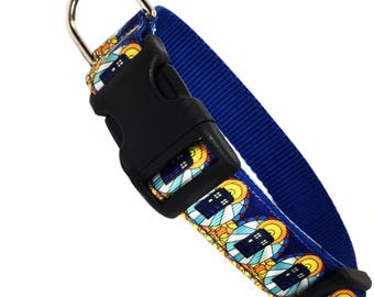"""DOCTOR WHO TARDIS inspired stained glass click quick release dog collar - medium 1"""" wide"""