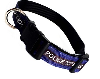 DOCTOR WHO inspired police public call box easy click quick release dog collar M-L