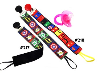 COMIC BOOK SUPERHEROES inspired ribbon pacifier clip - 2 styles to choose from