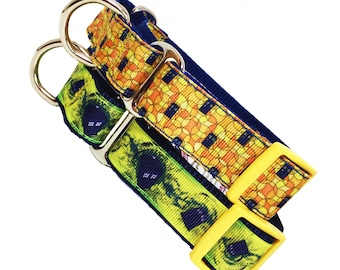 DOCTOR WHO TARDIS inspired adjustable martingale dog collars 2 patterns - your choice - 1 inch wide - size medium