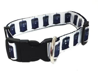 DOCTOR WHO TARDIS inspired 1 inch wide adjustable quick release dog collar - clearance