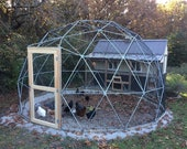 16 ft Geodesic Dome Outdoor Aviary, Flight Cage, Animal Pen with Avian Netting