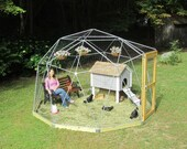 12 ft Geodesic Dome Outdoor Aviary, Chicken Enclosure, Animal Pen, Flight Cage with Avian Netting