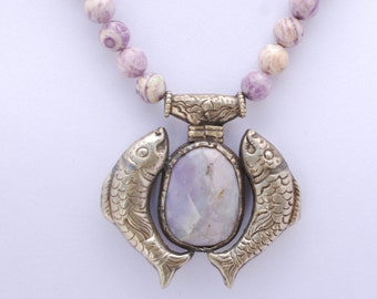 Double Delight Tibetan Fish Necklace    Price Reduced