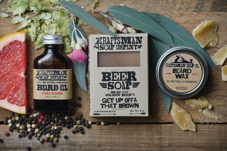 Deluxe Beard Kit  Beard Oil, Beard Wax, and Natural Soap  Vegan Palm-Free  Bar Soap