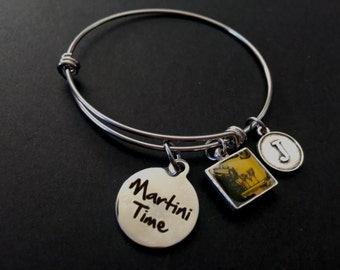 MARTINI TIME Adjustable Stainless Steel Bangle Bracelet with Retro Martinis Tile and Initial Charm