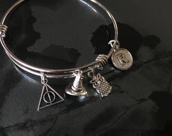 Harry Potter Inspired - Adjustable Bangle Bracelet with Initial Charm