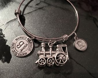 Harry Potter Inspired - Adjustable Bangle Bracelet Train (LARGE) and Initial Charm