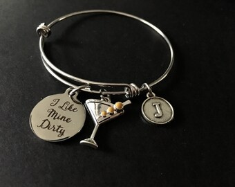 I Like Mine Dirty (Martini) Adjustable Stainless Steel Bangle Bracelet with Martini Glass (olives) and Initial Charm