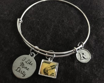 I Like Mine Dirty (Martini) Adjustable Stainless Steel Bangle Bracelet with Retro Shake or Stir Tile and Initial Charm