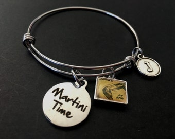 """MARTINI TIME Adjustable Stainless Steel Bangle Bracelet with Retro """"Shake or Stir"""" Tile and Initial Charm"""