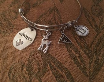 Harry Potter Inspired - Always Snape - Lily Adjustable Bangle Bracelet with Initial Charm