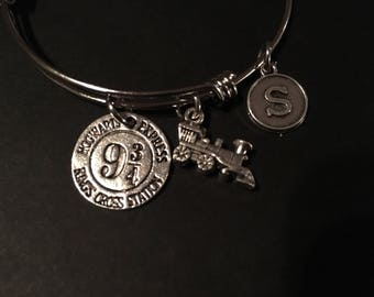 Harry Potter Inspired - Adjustable Bangle Bracelet Train (SMALL) and Initial Charm