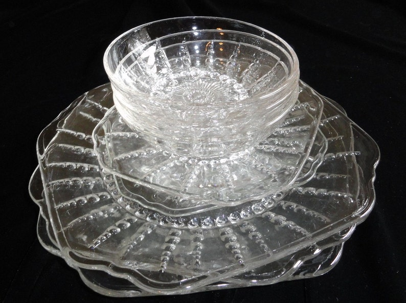Set of Eight  COLUMBIA Pattern Dishes /& Bowls by FEDERAL GLASS