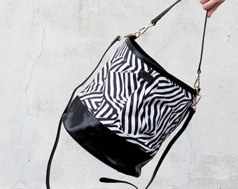 Zebra Bucket Bag - Printed Cotton Bag with Leather Details