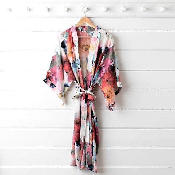 Printed Silk Dressing Gown Poppy