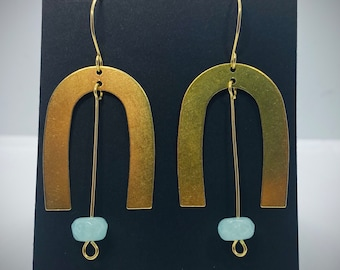 Brass U Earrings with Aqua Faceted Bead