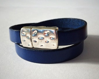 Navy Blue 10mm Double-Wrap Leather Bracelet with Antique Silver/Brass Dimpled Clasp