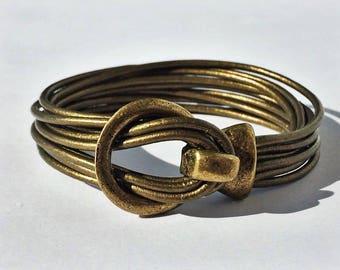 10-Strand Guariya Leather Bracelet with Brass Buckle Clasp