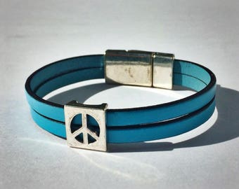 Light Blue 2-Strand Leather Bracelet with Peace Sign & Silver Magnetic Clasp