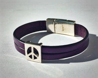 Purple 2-Strand Leather Bracelet with Peace Sign & Silver Magnetic Clasp