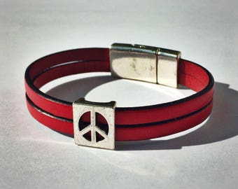 Red 2-Strand Leather Bracelet with Peace Sign & Silver Magnetic Clasp