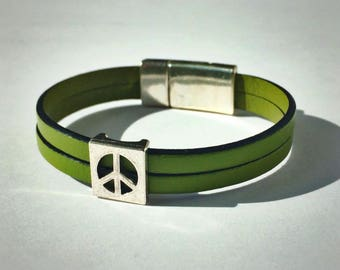 Olive Green 2-Strand Leather Bracelet with Peace Sign & Silver Magnetic Clasp