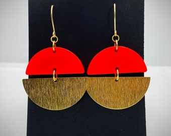 Neon Resin and Textured Brass Earrings