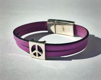 Lilac 2-Strand Leather Bracelet with Peace Sign & Silver Magnetic Clasp