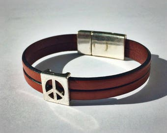 Light Brown 2-Strand Leather Bracelet with Peace Sign & Silver Magnetic Clasp