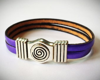 Metallic Purple 2-Strand 5mm Leather Bracelet with Antique Brass/Silver Spiral Clasp