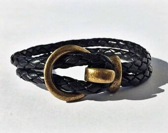 Black Round Braided Leather Bracelet with Brass Buckle Clasp