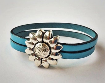 Assorted Two-Strand 5mm Leather Bracelets with Antique Silver Magnetic Flower Clasp