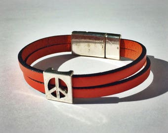 Coral 2-Strand Leather Bracelet with Peace Sign & Silver Magnetic Clasp