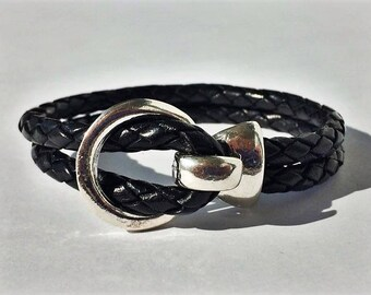 Black Round Braided Leather Bracelet with Silver Buckle Clasp