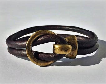 Brown 5mm Round Leather Bracelet with Brass Buckle Clasp